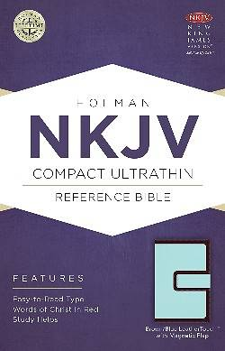 NKJV Compact Ultrathin Bible, Brown/Blue Leathertouch with Magnetic Flap