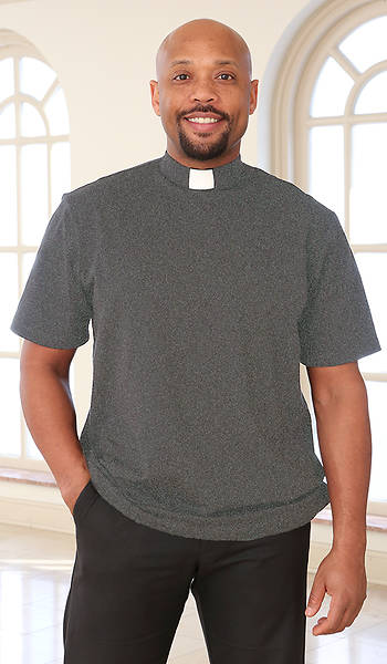 Picture of Abiding Spirit Men's Short Sleeve Knit Charcoal Grey Clergy Shirt Small