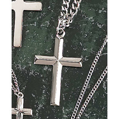 Silver Plated Medium Bevel Cross Necklace - 24