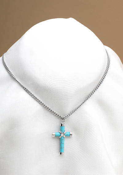 Sterling Silver & Turquoise Cross Necklace - 24