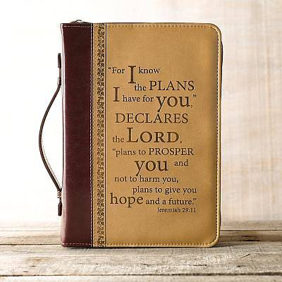 Picture of BIBLE COVER I KNOW THE PLANS BURGUNDY SAND MEDIUM