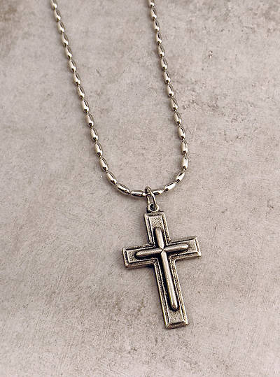 Mens Pewter Block Cross with Raised Center - 24
