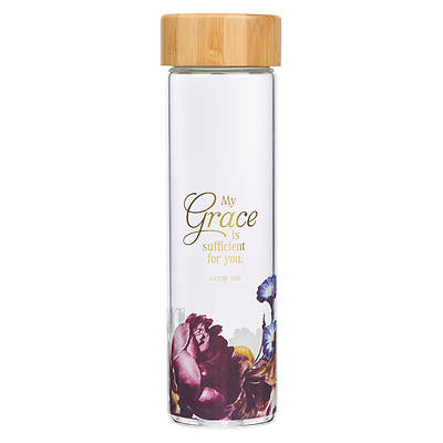 Picture of Water Bottle Glass with Sleeve My Grace Is Sufficient 2 Cor 12