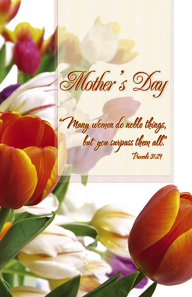 Mothers Day Bulletin Tulips Proverbs 31:29 Regular (Package of 100)