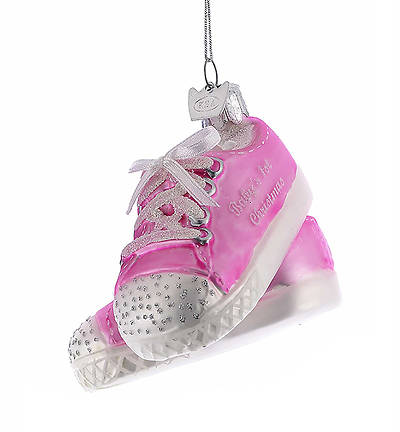 Picture of Baby Sneaker Glass Ornament - Pink