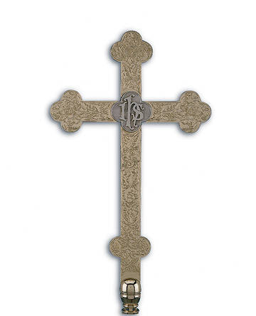 Picture of Processional Cross, Passion Flower Etched IHS