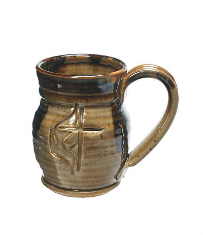 Cross and Flame Brown Ceramic Mug