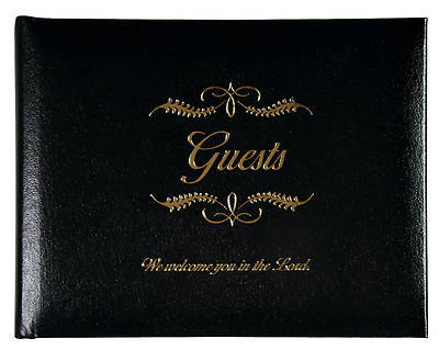 Picture of Small Black Bonded Leather Guest Book
