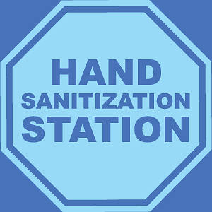 """Picture of Hand Sanitizing Station (Stop Sign) 9""""x9"""" Wall Decal Sign - 2 Pack"""