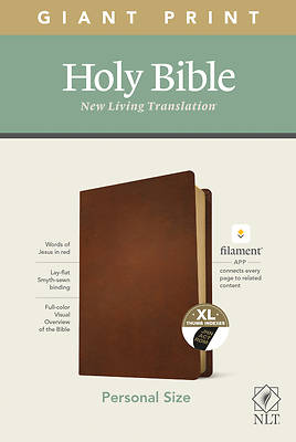 Picture of NLT Personal Size Giant Print Bible, Filament Enabled Edition (Red Letter, Genuine Leather, Brown, Indexed)