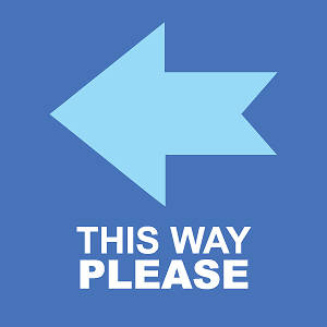 "Picture of This Way Please (Left Arrow) 15.5""x15.5"" Floor Decal Sign - 2 Pack"