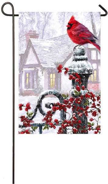 Winter Cardinal Garden Satin Flag
