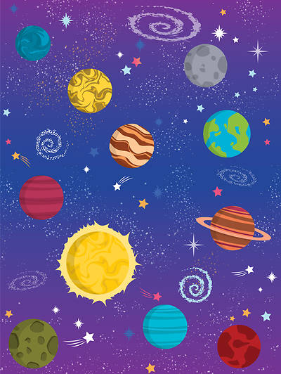 Picture of Vacation Bible School (VBS) 2019 To Mars and Beyond Galaxy Wall Covering