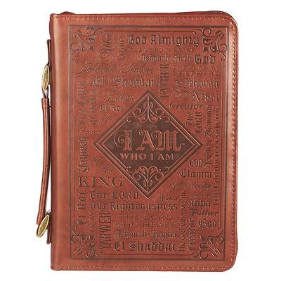 Picture of Bible Cover Faux Leather Names of God Brown Extra Large