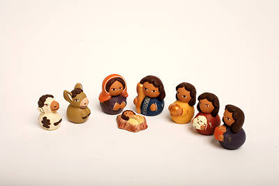 Picture of 8 Piece Quinua Ceramic Nativity Set Painted - Peru
