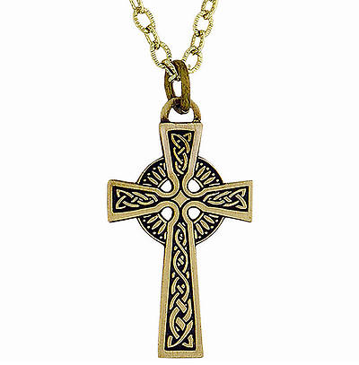 Antique Bronze Plated Celtic Cross Pendant with Chain