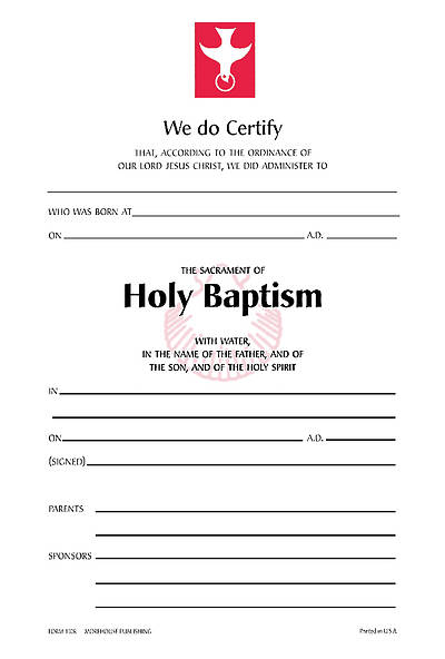 Picture of Baptism Certificate [Package of 25 w/ Envelope]