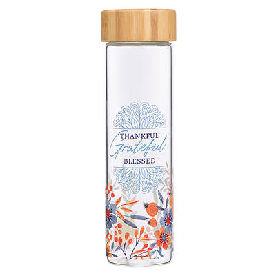 Picture of Water Bottle Glass with Sleeve Give Thanks