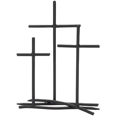 Three Cross Metal Tabletop Decoration, 12""