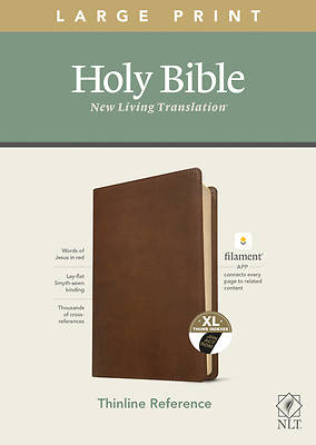 Picture of NLT Large Print Thinline Reference Bible, Filament Enabled Edition (Red Letter, Leatherlike, Rustic Brown, Indexed)