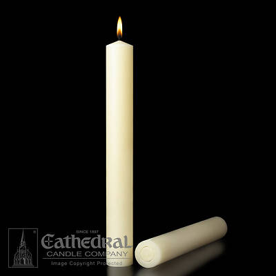 Picture of 100% Beeswax Altar Candles Cathedral 12 x 2 Pack of 6 All Purpose End