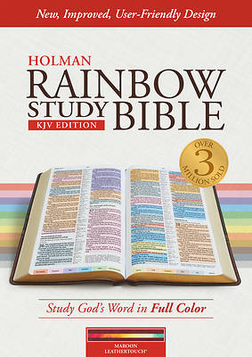 Picture of KJV Rainbow Study Bible, Maroon Leathertouch, Indexed