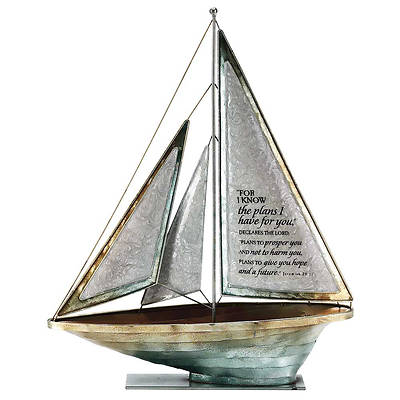 """Picture of For I Know the Plans Metal Sailboat 16""""H"""