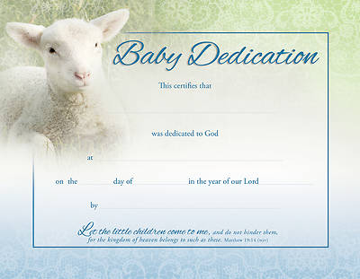 Picture of Baby Dedication Certificate - Matthew 1914 (NIV) - Pack of 6
