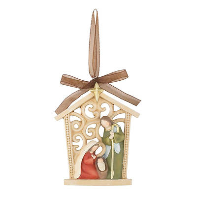Holy Family In Creche Resin  Ornament