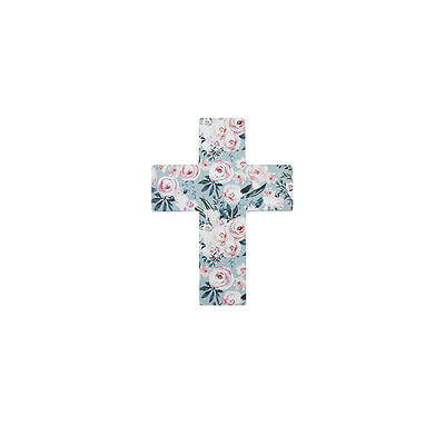 Picture of Mini Easel Floral Cross Blue With Pink Flowers