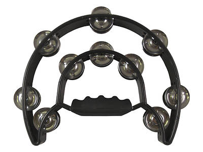 Double Moon Double Row Tambourine - Black