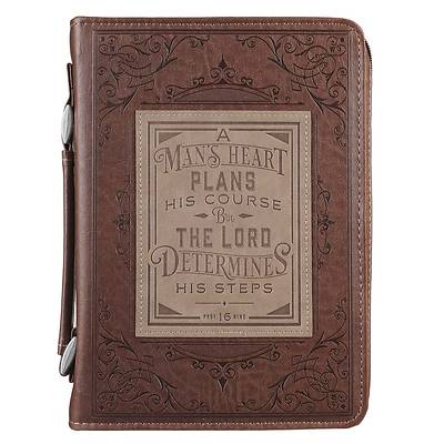 Picture of Bible Cover Extra Large Classic Brown a Man's Heart - Proverbs 16