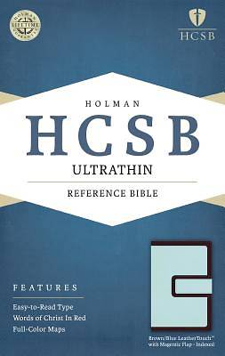 HCSB Ultrathin Reference Bible, Brown/Blue Leathertouch with Magnetic Flap Indexed