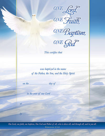 One Lord One Faith Baptisim Certificate