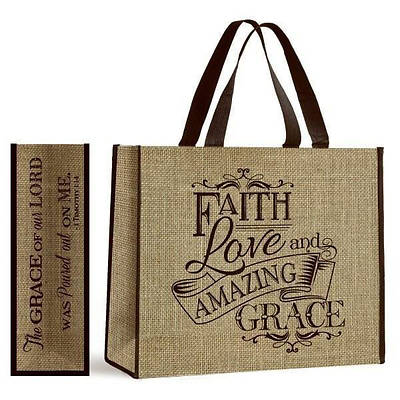 Picture of Amazing Grace Burlap Look Tote
