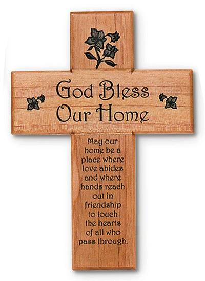 Cross God Bless Our Home Wooden