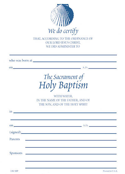 #130 Shell Baptismal Certificate [Pack of 25 w/Envelopes]