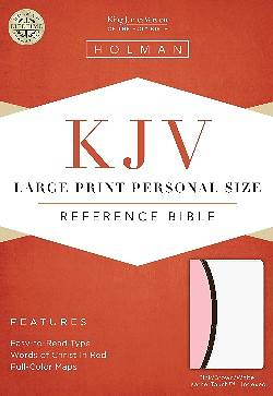 KJV Large Print Personal Size Reference Bible, White/Pink/Dark Brown Leathertouch Indexed