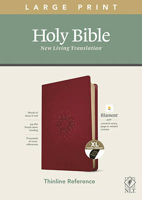 Picture of NLT Large Print Thinline Reference Bible, Filament Enabled Edition (Red Letter, Leatherlike, Berry, Indexed)