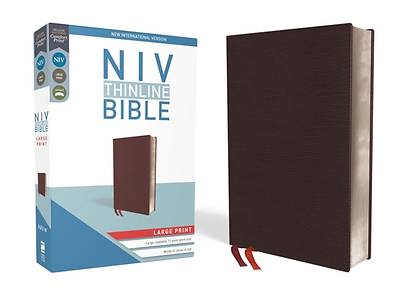 Picture of NIV, Thinline Bible, Large Print, Bonded Leather, Burgundy, Red Letter Edition