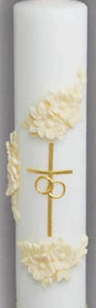 Holy Matrimony Center Candle - Gold and Cream