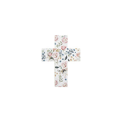 Picture of Mini Easel Floral Cross White With Pink Flowers