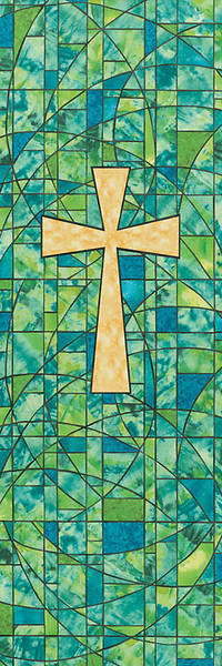 Symbols of Faith Series Stained Glass Cross Banner 2 x 6