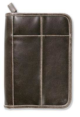 Distressed Leather-Look Brown with Stitching Accent Lg