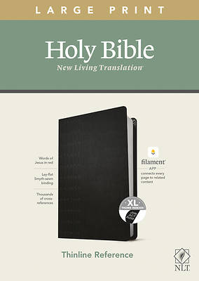 Picture of NLT Large Print Thinline Reference Bible, Filament Enabled Edition (Red Letter, Leatherlike, Black, Indexed)