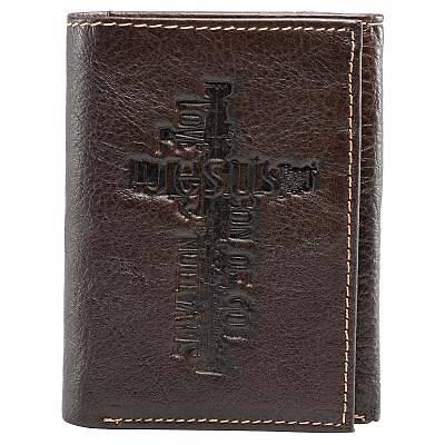 Picture of Wallet Jesus Cross Imprint Leather Dark Brown