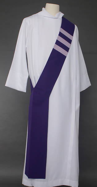 Picture of Trinity Stripe Deacon Stole - Purple