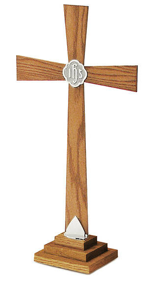 "Picture of 24"" SOLID OAK CROSS WITH SILVERPLATE ACCENTS"