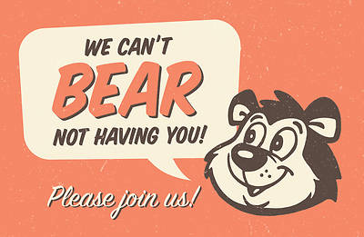 We Cant Bear Not Having You Invitation Postcard-Kids (Pkg of 25)