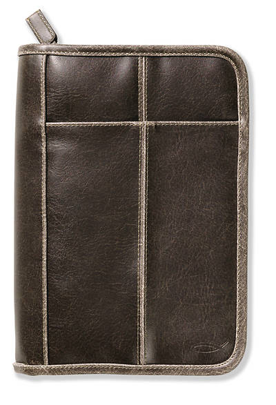 Stitching Accent Distressed Leather-Look Medium Brown Book & Bible Cover